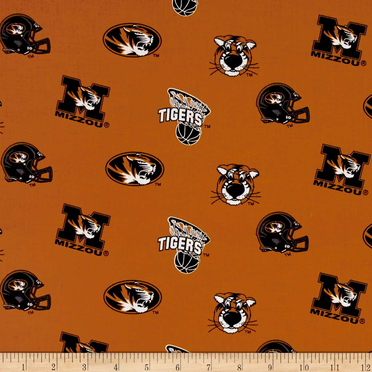 Collegiate Cotton Broadcloth University of Missouri Fabric