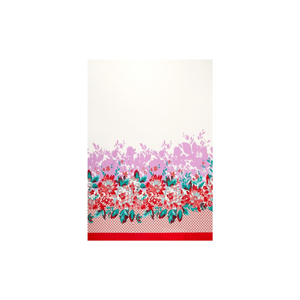 Stretch Poplin Print Double Border Floral Coral