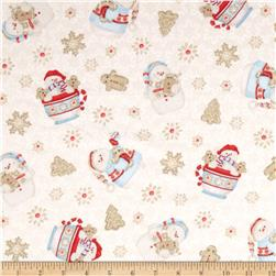Cocoa & Cookies Flannel Tossed Snowman Cream Fabric