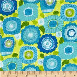 Sweet Tweet Sunshine & Flowers Blue/Lime Fabric