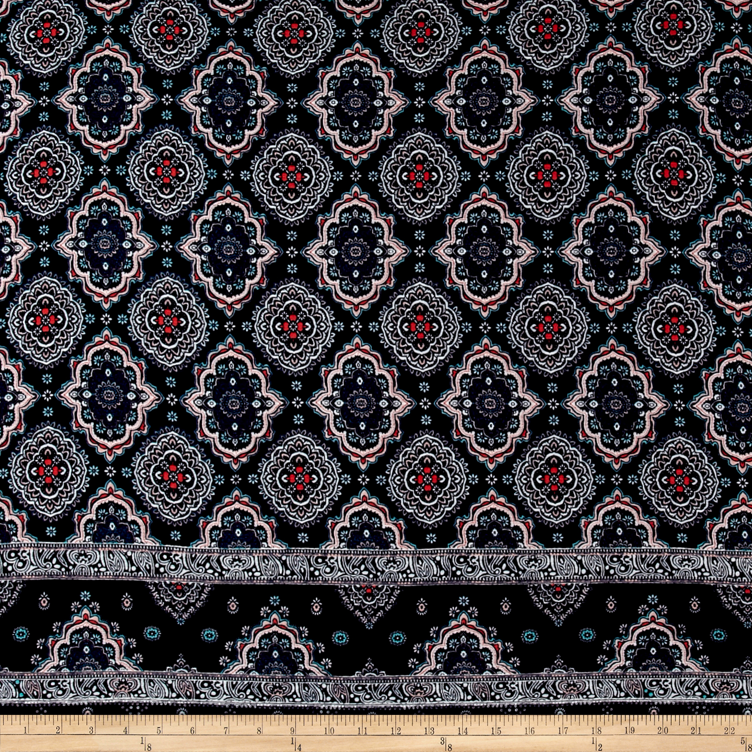 Rayon Crepe Double Border Medallion Navy/Rose Quartz Fabric by Neiman in USA