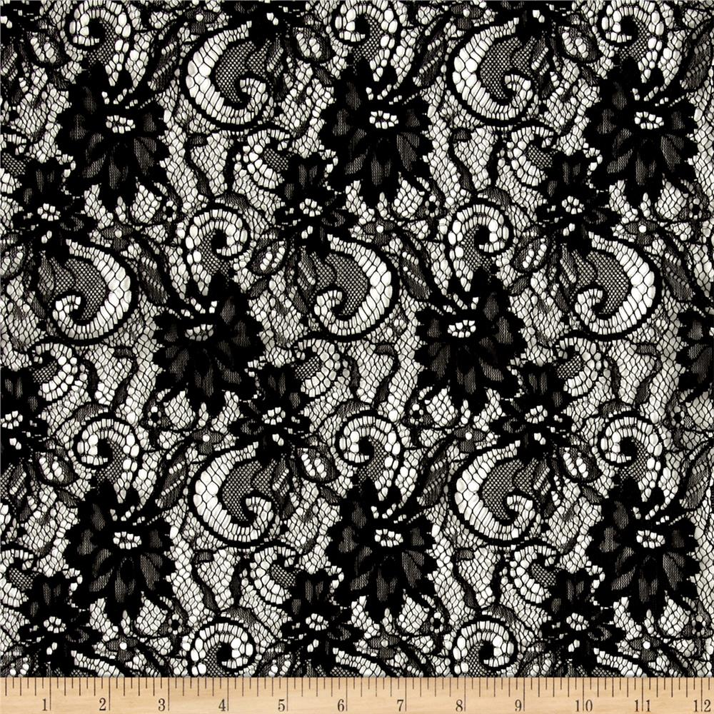 Floral and Scrolls Lace Netting Black