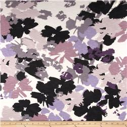 Rayon Slub Jersey Knit Abstract Floral Purple/Black/White