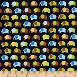 Robert Kaufman Urban Zoologie Mini Elephants Navy
