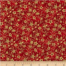 Nutcracker Christmas Metallic Stars Red