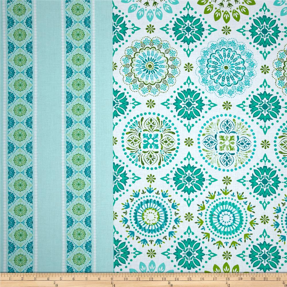 Holly Jolly Large Medallion Border Light Teal