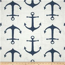 Premier Prints Anchor Slub Navy Fabric