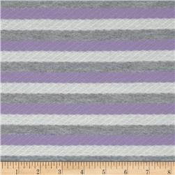 Textured Yarn Dyed Jersey Knit Stripes Lavender/Grey