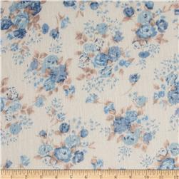 Stretch Tissue Accordion Jersey Knit Floral Beige/Blue