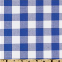 Woven 1'' Cotton Carolina Gingham Royal