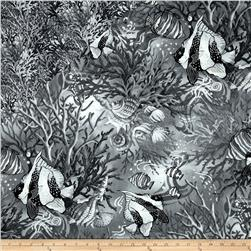 Coral Sea Double Faced Quilted Fish Black/Grey Fabric