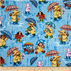 Timeless Treasures Corduroy The Bear Scenic Blue
