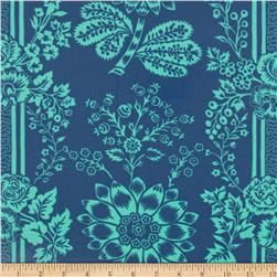 Happy Land Laminated Cotton Candace Midnight Blue