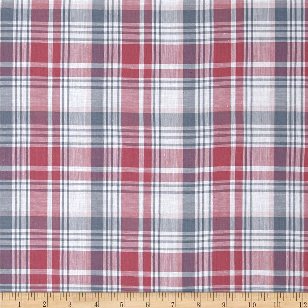 Yarn Dyed Plaid Shirting Muted Red/Light Blue