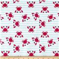 Michael Miller Minky Whales Crabby Stripe Light Blue