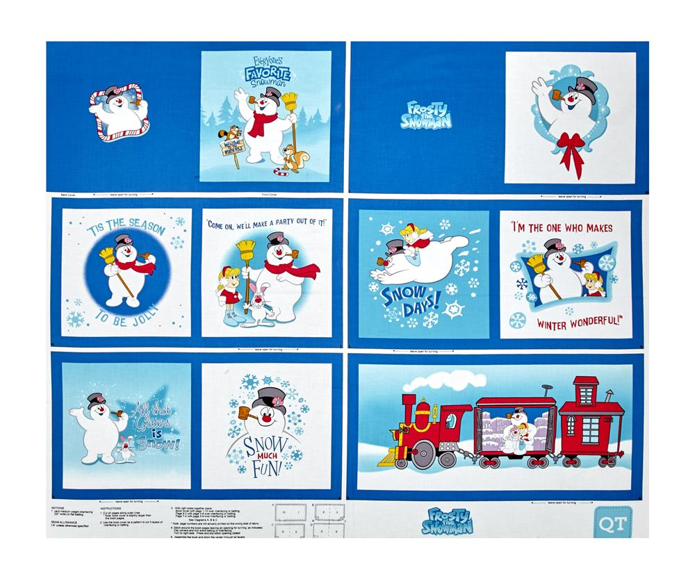 Frosty the Snowman Everyone's Fav Snowman Book 35'' Panel Royal Blue Fabric