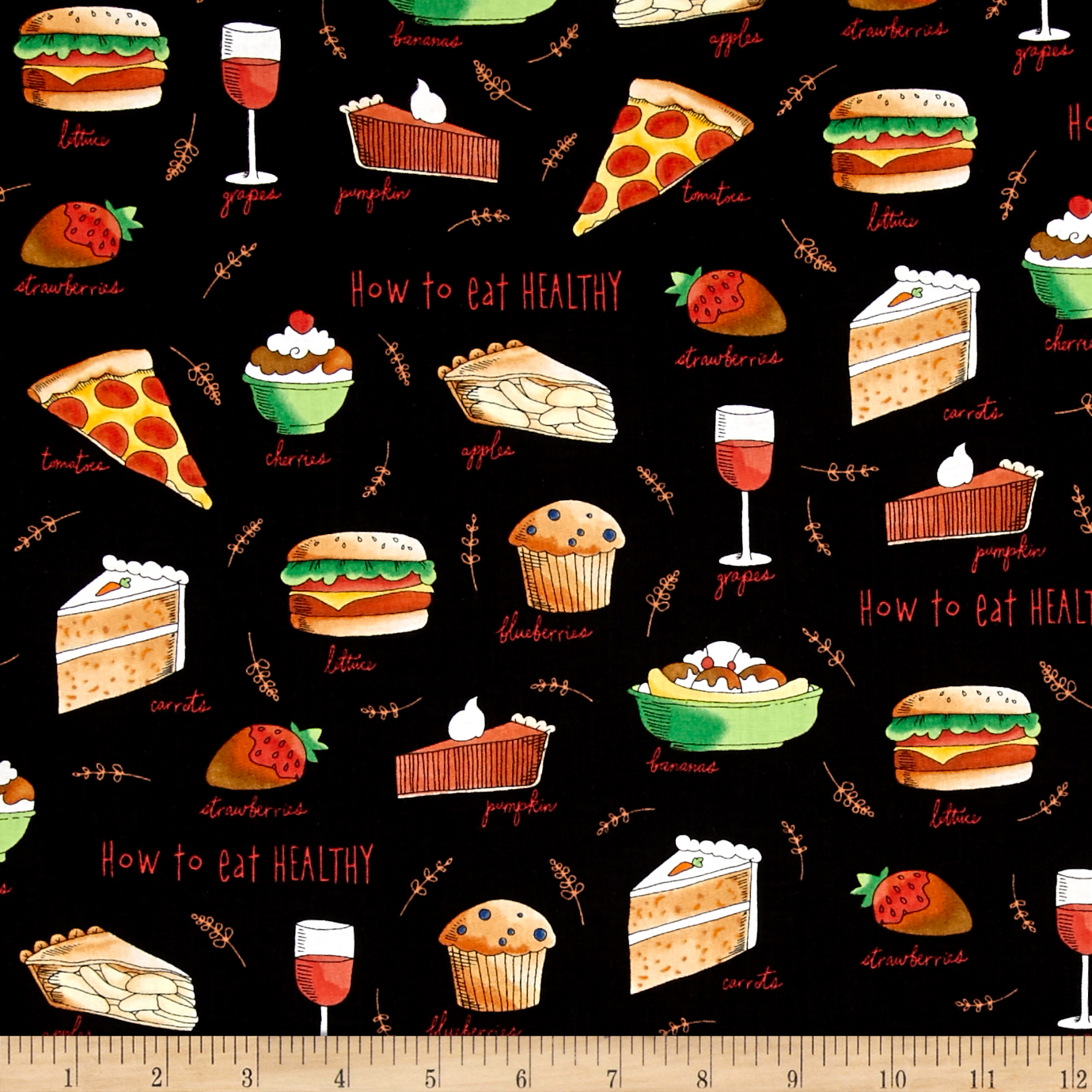 Healthy Eats How To Eat Healthy Toss Black Fabric by Quilting Treasures in USA