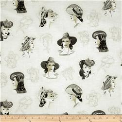 Glamour Girls Beautiful Faces Vintage Ivory Fabric
