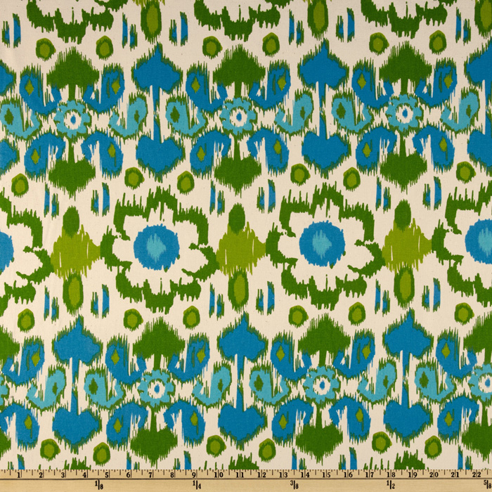 Premier Prints Rio Grasshopper/Blue/Natural Fabric