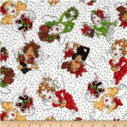 Loralie Fairy Merry Christmas Fairy Toss White/Black Fabric