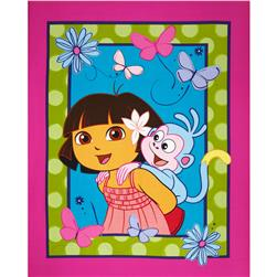 Nickelodeon Dora A Day at the Beach Dora and Boots Panel Aqua