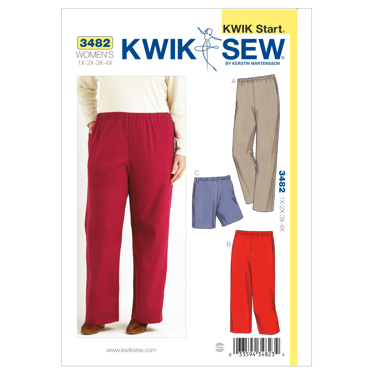 Image of Kwik Sew Pull-On Pants & Shorts Plus Size Pattern