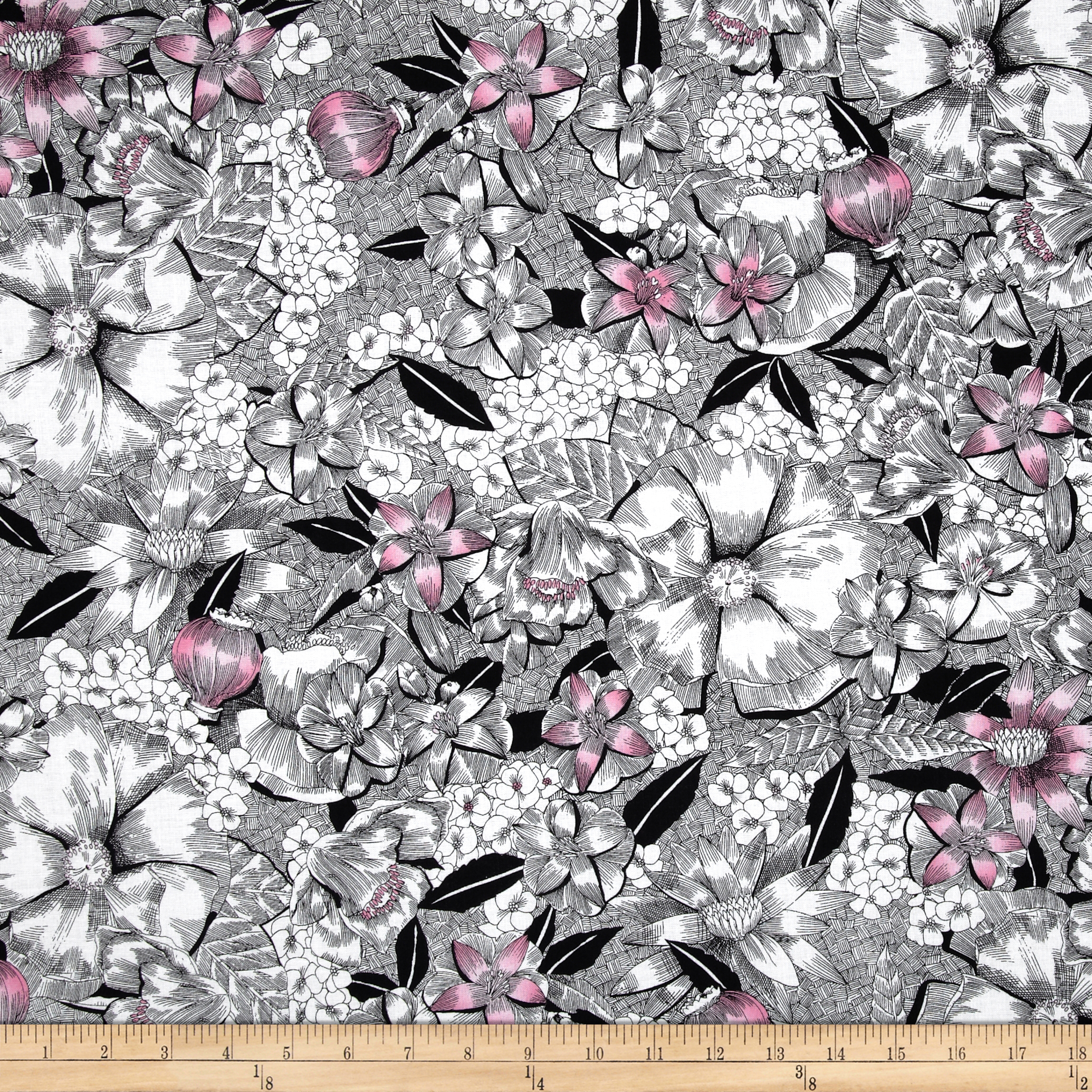 Madison Contempo Floral Pink/Black Fabric