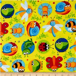 Timeless Treasures Happy Bugs Flannel Bugs on Dots Yellow