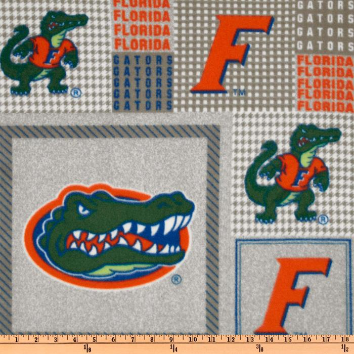 Collegiate Fleece University of Florida Plaid Blocks Orange/Green Fabric By The Yard