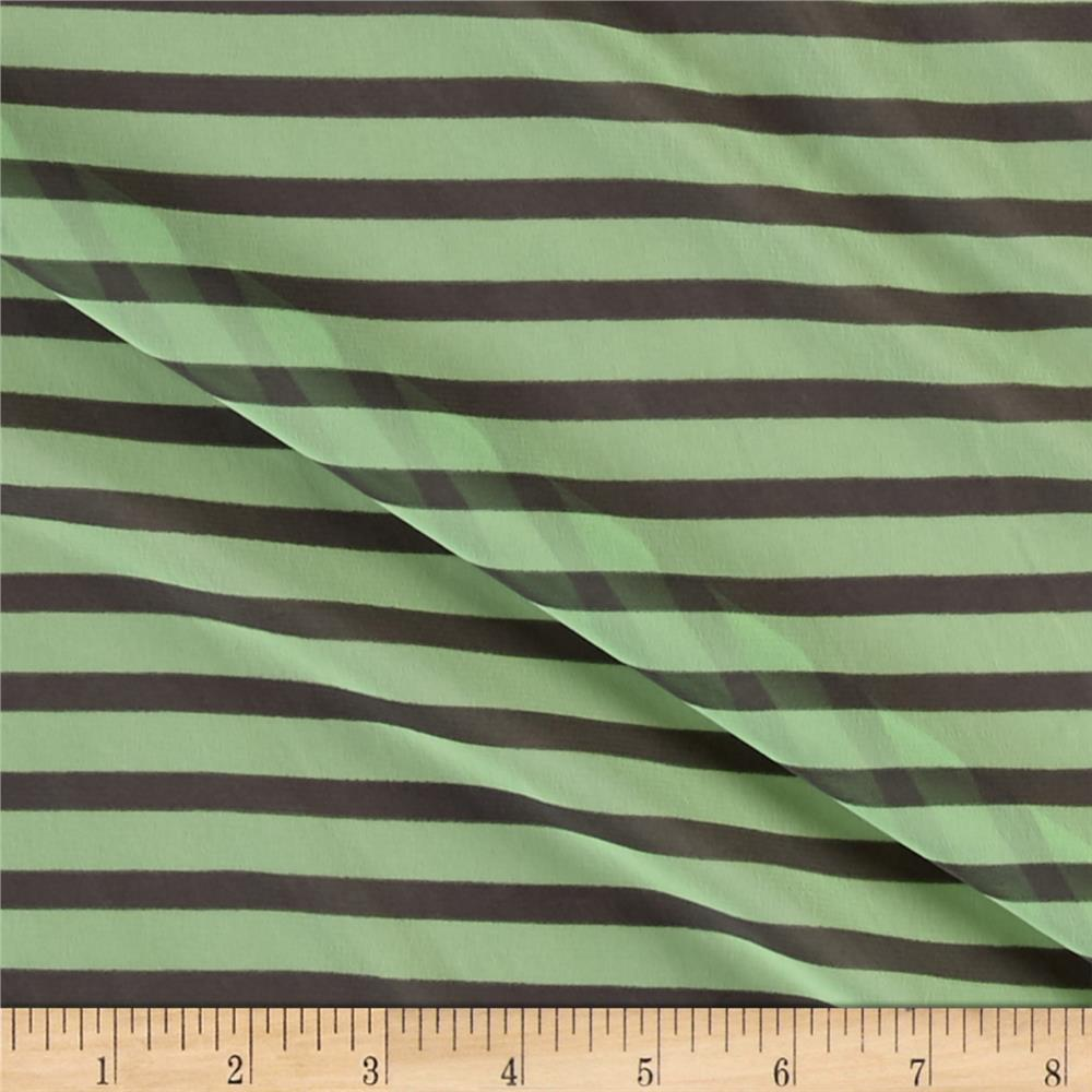 Chiffon Gray Pencil Stripes Mint