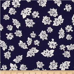 Nancy Gere Low Country Indigo Tossed Flowers Navy