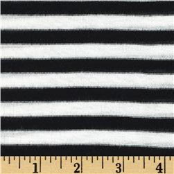 Brushed Jersey Knit Yarn Dyed Stripe Black/White Fabric