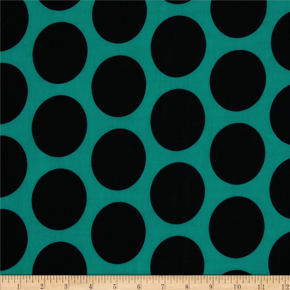 Stretch ITY Jersey Knit Large Dot Black/Aqua