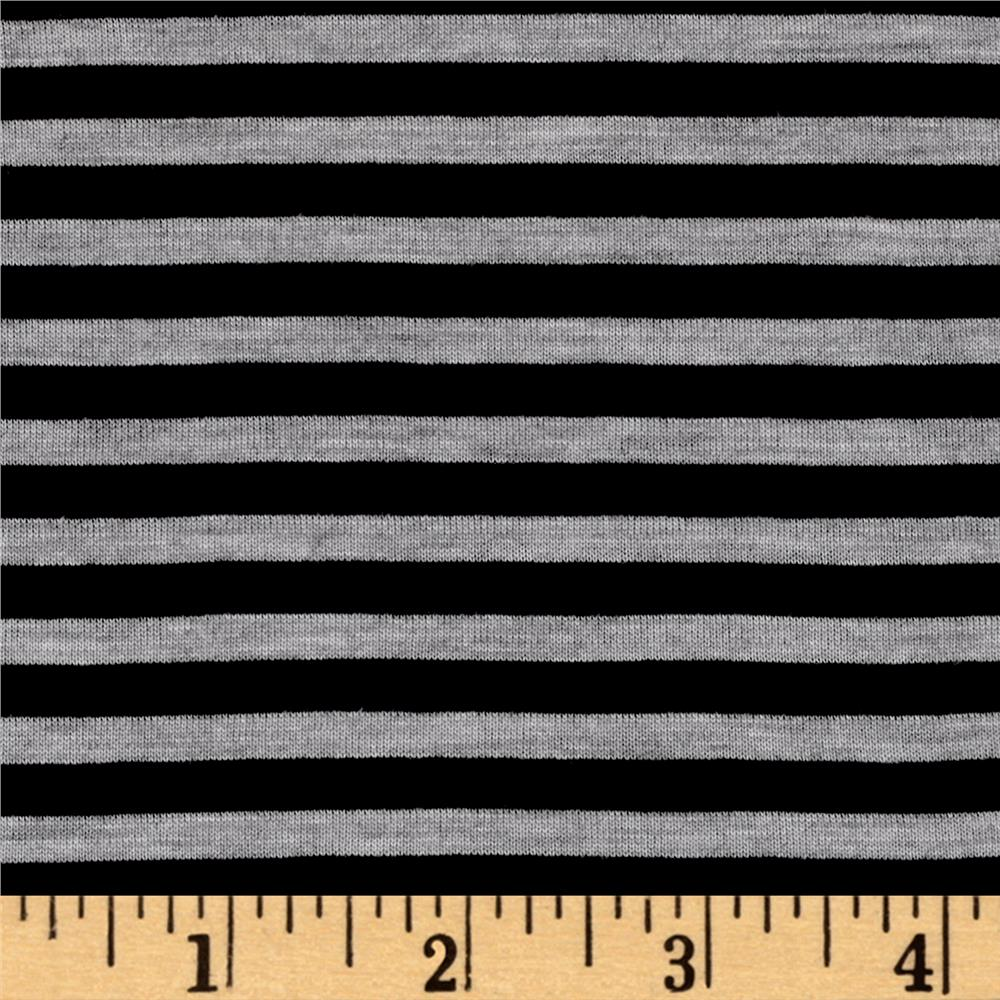 Polyester Spandex Jersey Knit 1/4'' Stripe Heather Gray/Black Fabric By The Yard