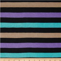 Rayon Jersey Knit Stripes Purple/Black