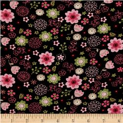 Corduroy Pink/Green Flowers on Brown