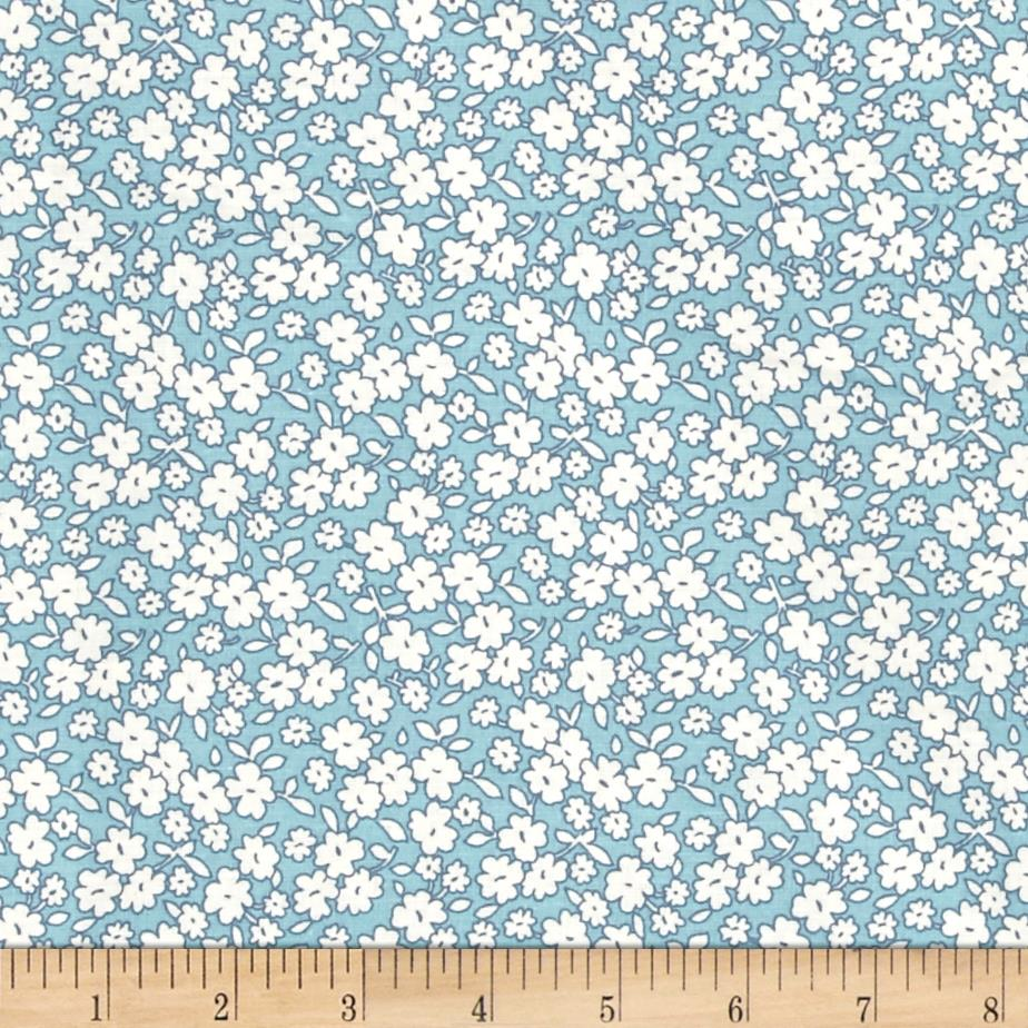 "108"" Wide Back Tossed Floral Blue"