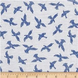 Jersey Knit Bird Parade Blue