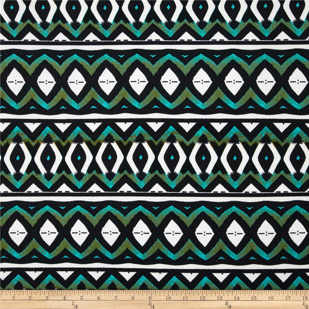 Techno Scuba Knit Tribal Black/Turquoise