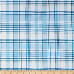 Stretch Jersey Knit Plaid Blue/Beige
