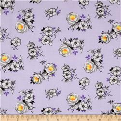 Spring Fling Packed Large Roses Purple/Grey