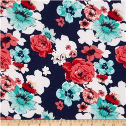 Soft Jersey Knit Floral Multi/Navy Fabric