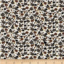 Corduroy Olive/Black/Brown Flowers on Ivory