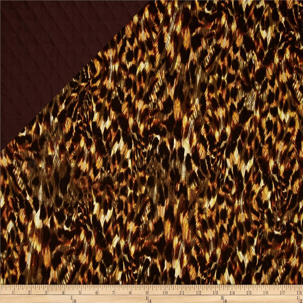 Double Sided Quilted Animal Skin Brown