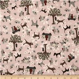 Time with Friends Dogs & Cats Pink Fabric