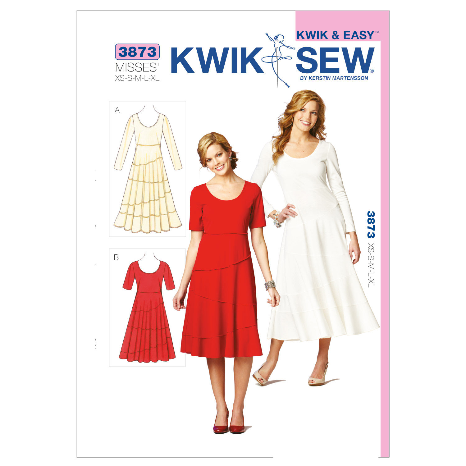 Image of Kwik Sew Misses Tiered Dresses (3873) Pattern