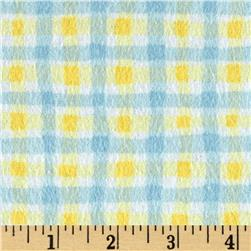 Cuddly Noah's Ark Flannel Wiggly Plaid Blue/Yellow