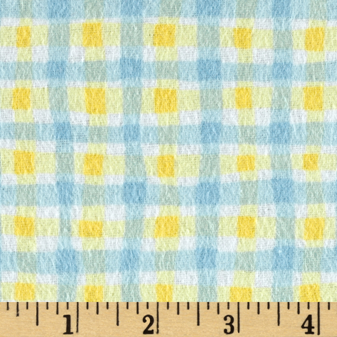 Cuddly Noah's Ark Flannel Wiggly Plaid Blue/Yellow Fabric