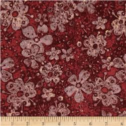 Tuscan Breeze Metallic Flowers Red