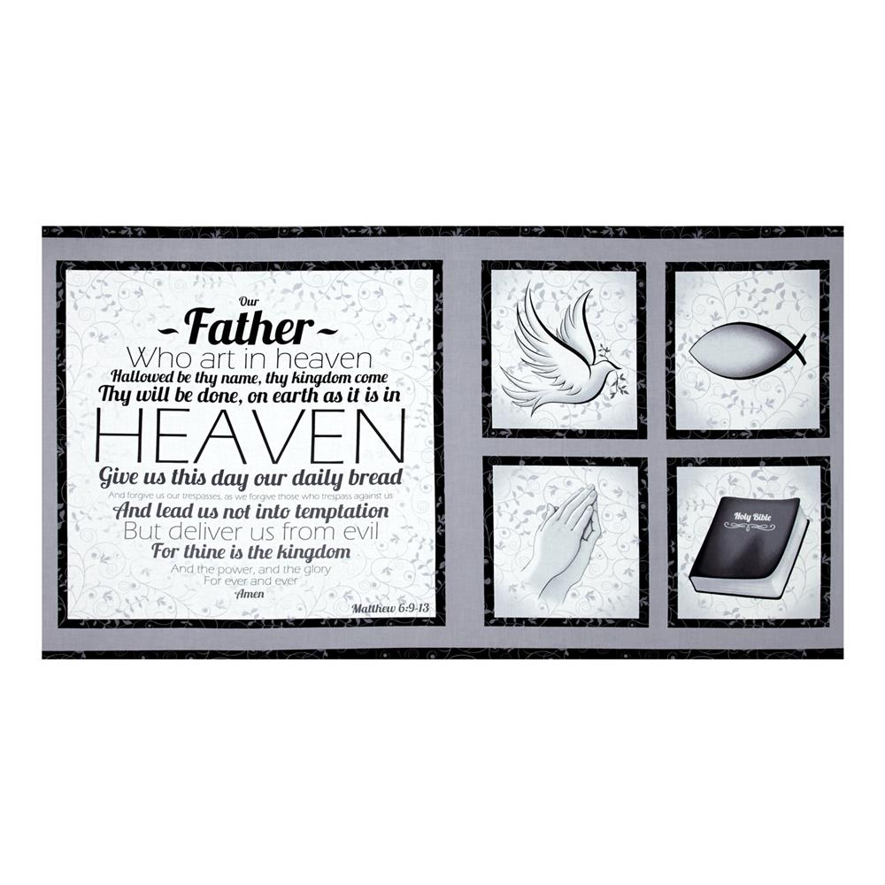 Our Father Panel Grey Fabric By The Yard